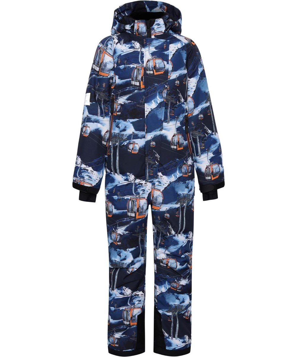 Hux - Way Up - Recycled blue snowsuit with ski lifts
