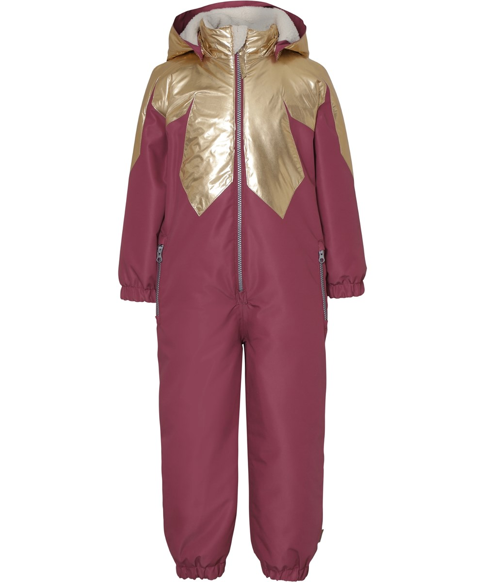 Peony - Maroon - Recycled bordeaux snowsuit with gold