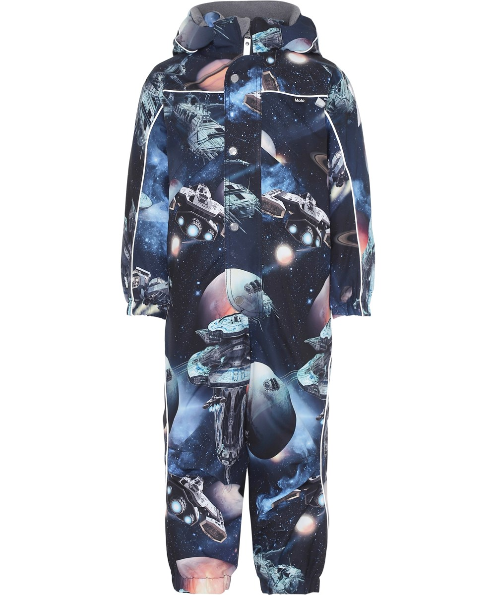 Polaris - Another Galaxy - Blue snowsuit with spaceships and planets.