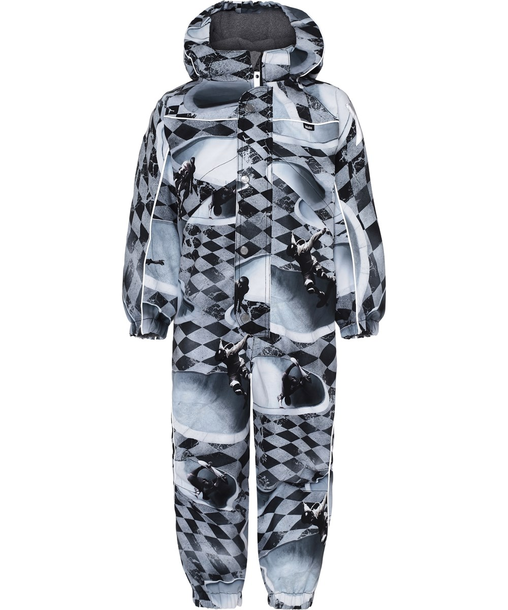 Polaris - Check Pools - Grey snowsuit with plaid and skater.