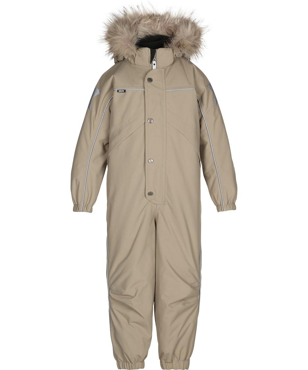 88895d684 Polaris Fur - Aluminium - Grey snowsuit with fur edge - Molo