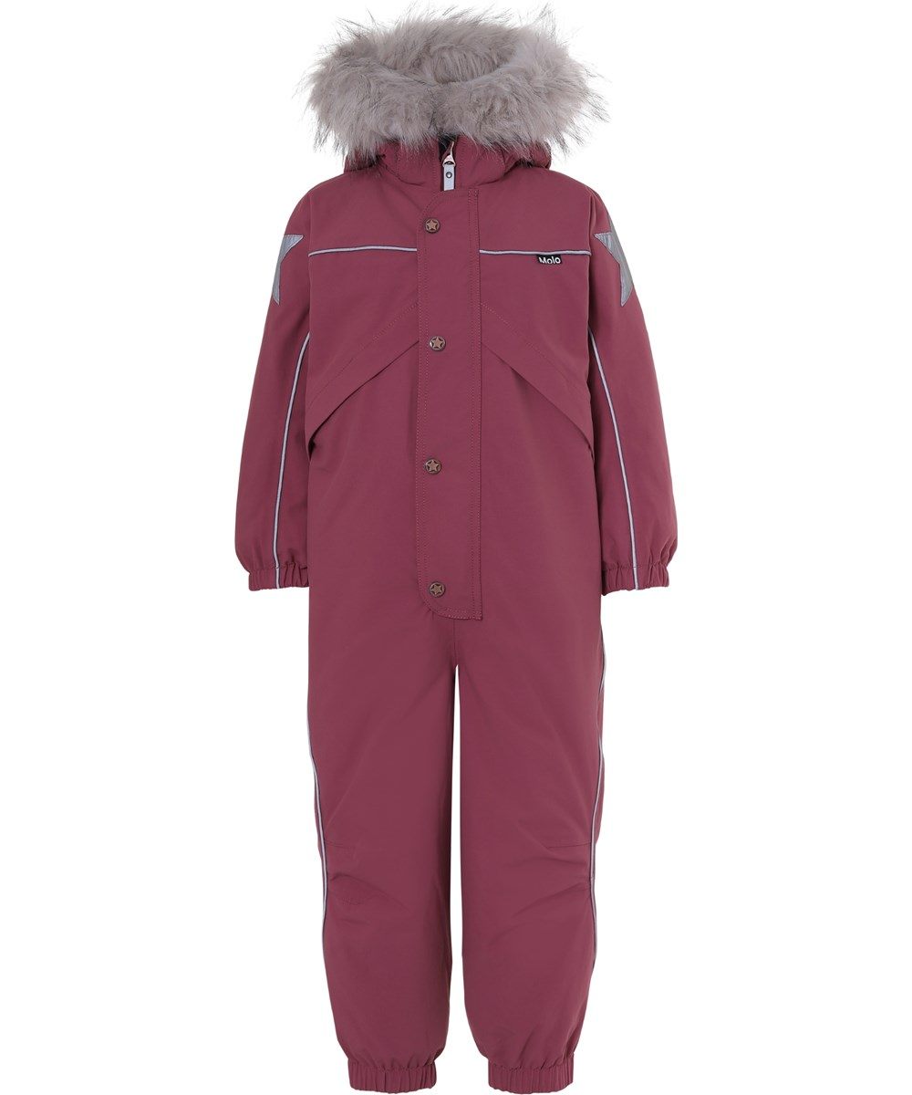Polaris Fur Recycle - Maroon - Recycled bordeaux snowsuit fur collar