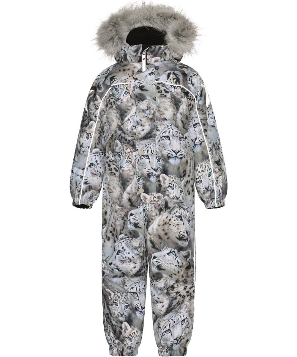 Polaris Fur - Snowy Leopards - Recycled snowsuit with print of snow leopards