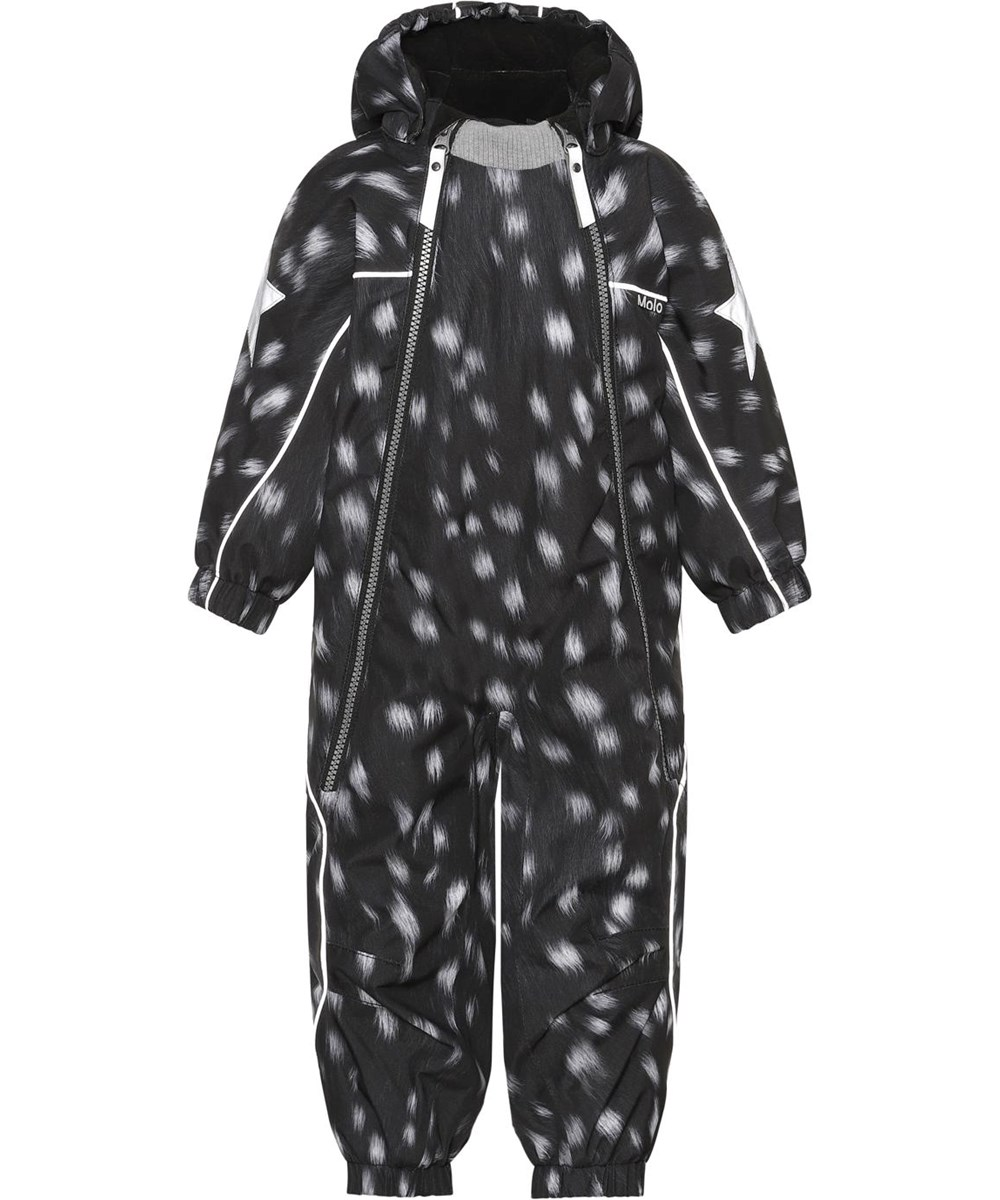 Pyxis - Black Fawn - Recycled baby snowsuit in black with white spots