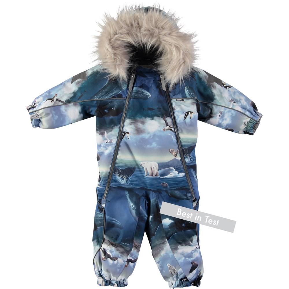 Pyxis Fur - Arctic Landscape - Functional baby snowsuit with digital arctic landscape print