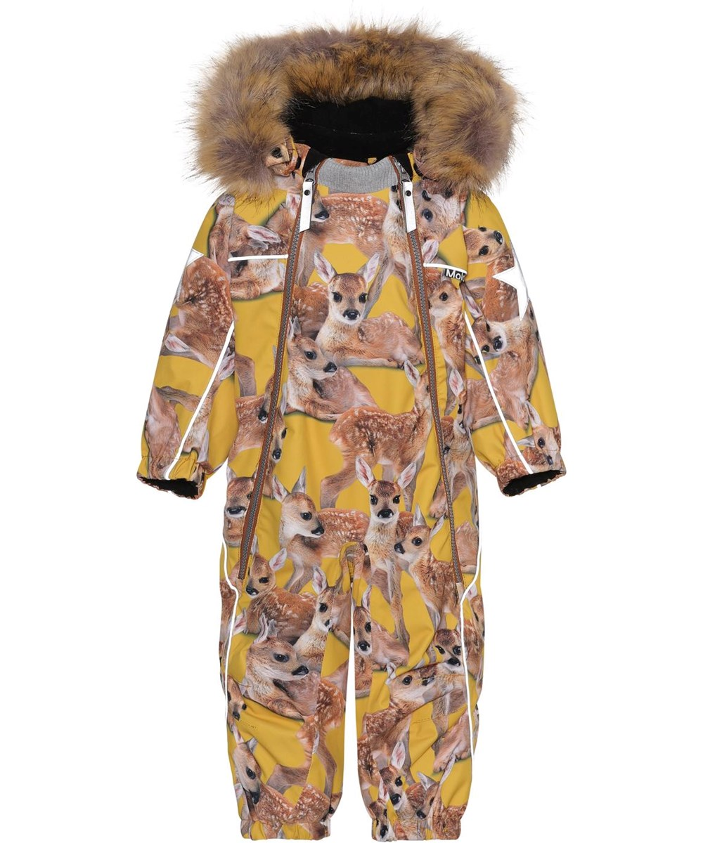 Pyxis Fur - Fawns - Recycled baby snowsuit in yellow with deer print