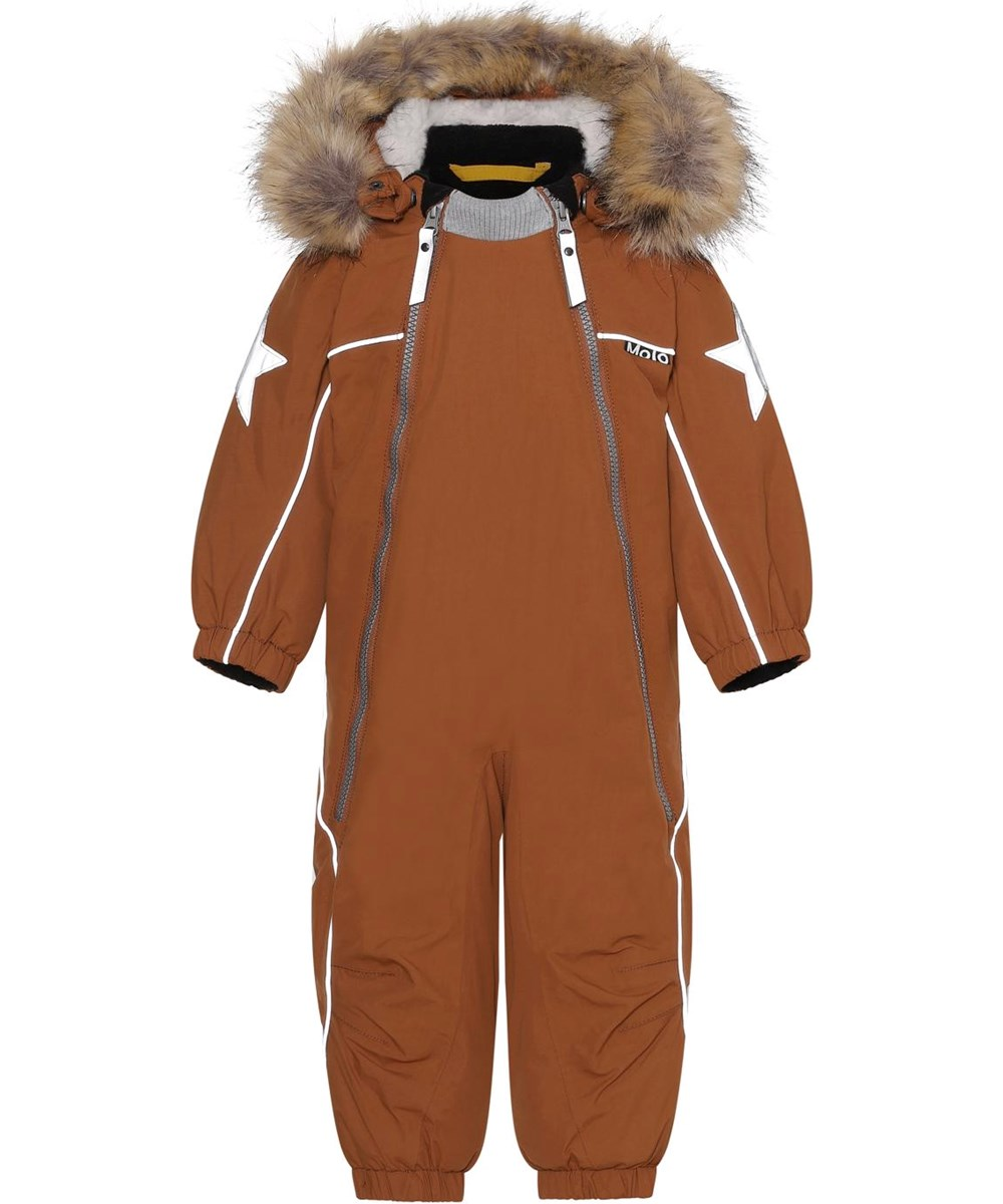 Pyxis Fur - Iron - Recycled baby snowsuit in brown with fur