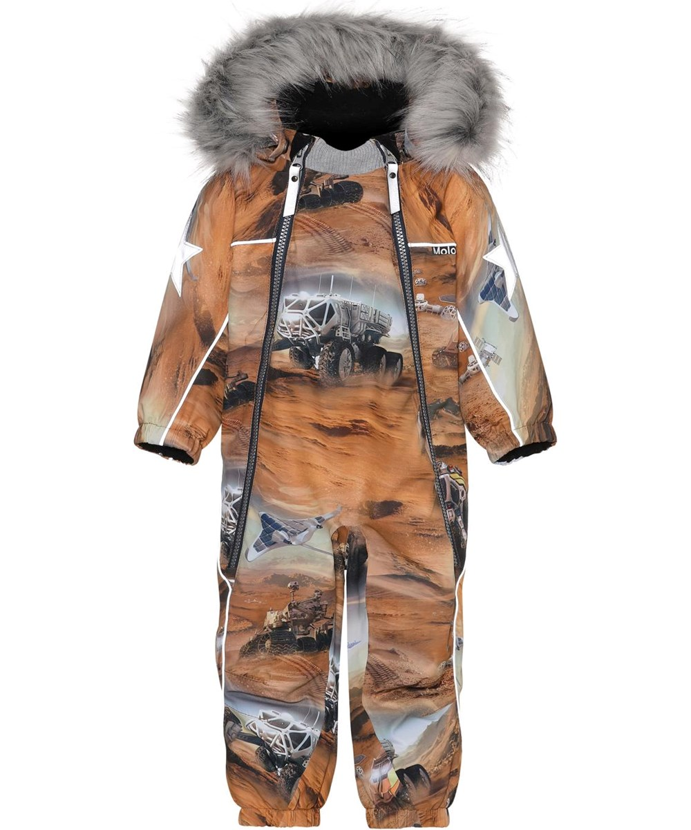 Pyxis Fur - Mars - Recycled baby snowsuit in brown with Mars print