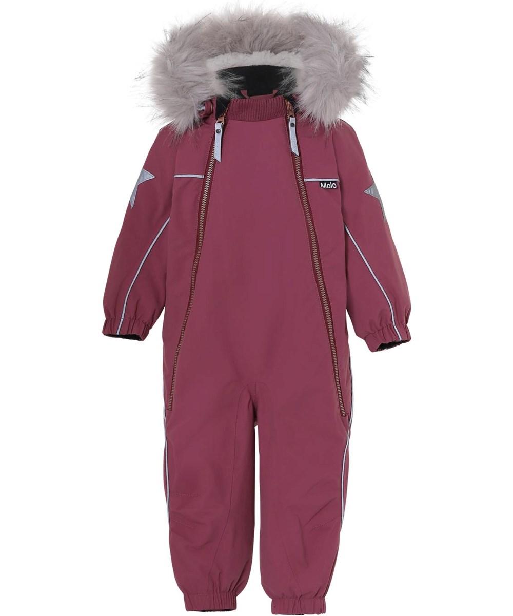 Pyxis Fur Recycle - Maroon - Recycled bordeaux snowsuit fur collar