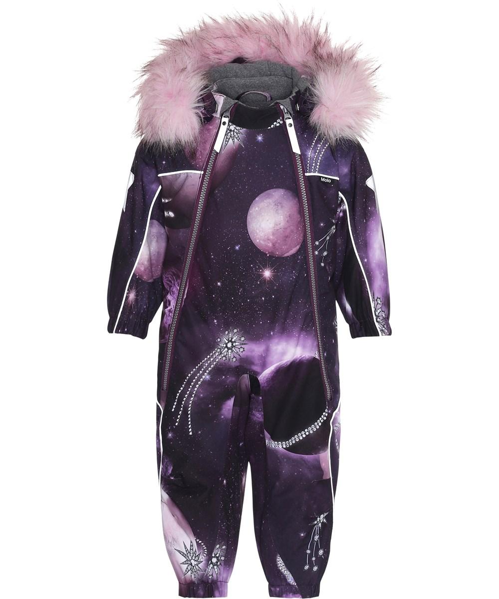 Pyxis Fur - Shooting Stars - Purple snowsuit with shooting stars.