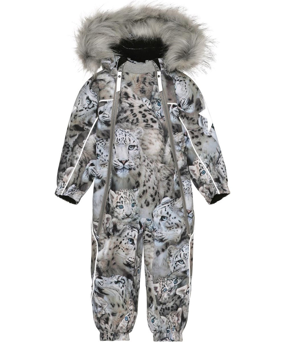 Pyxis Fur - Snowy Leopards - Recycled baby snowsuit in grey with snow leopards