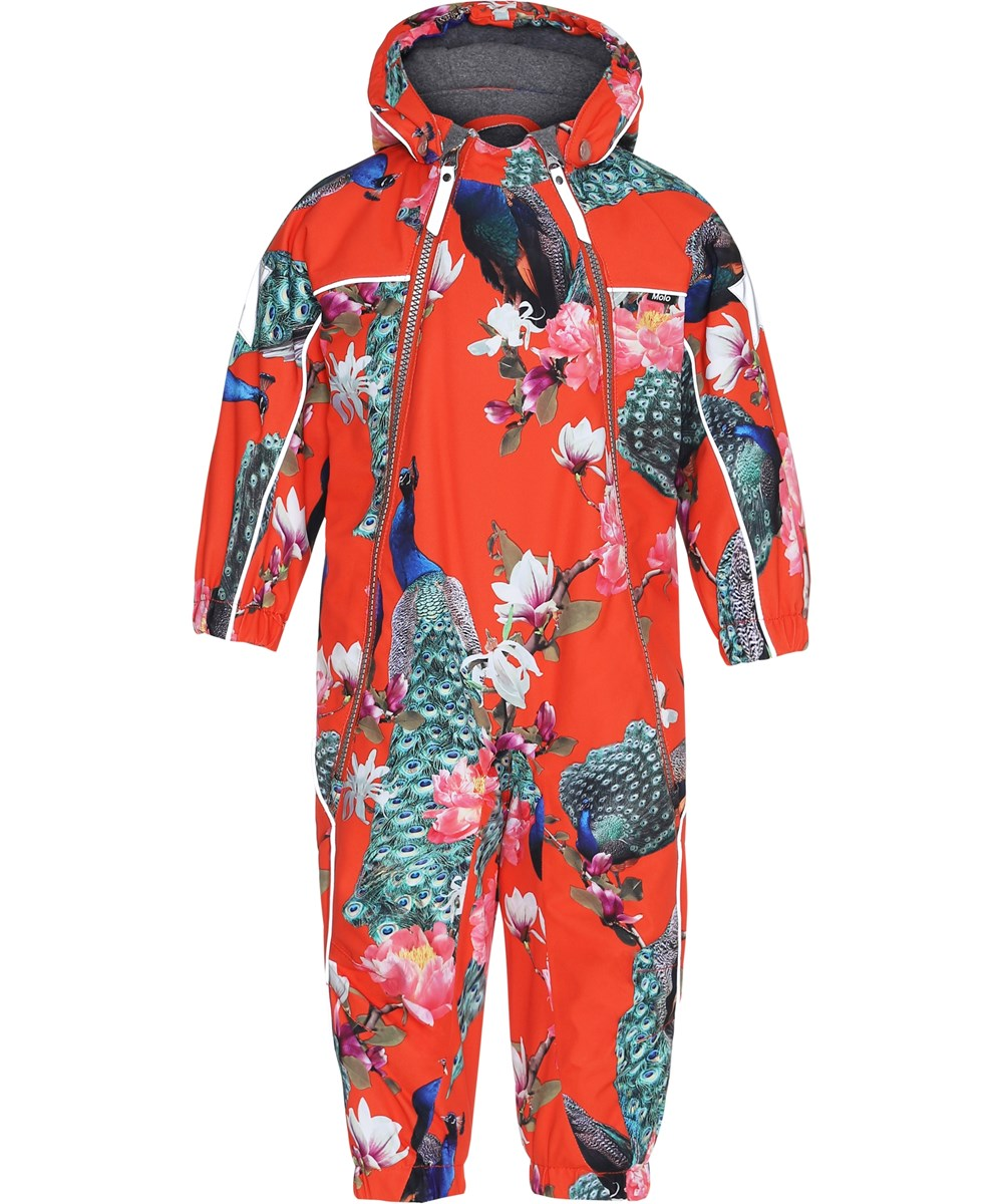 Pyxis - Peacock - Red snowsuit with peacocks.