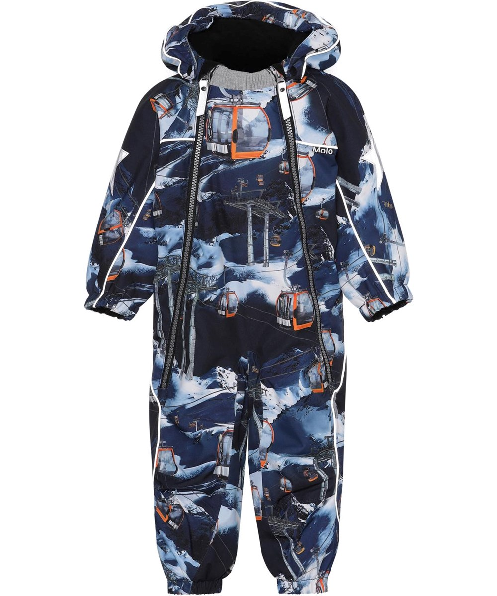 Pyxis - Way Up - Recycled baby snowsuit in blue with ski lifts