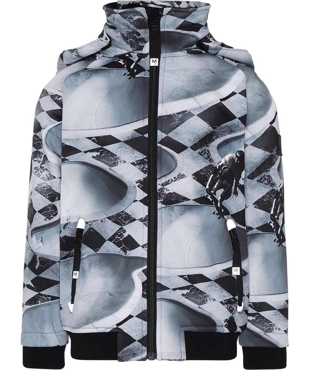Cloudy - Check Pools - Softshell jakke i grå med tern og skater.