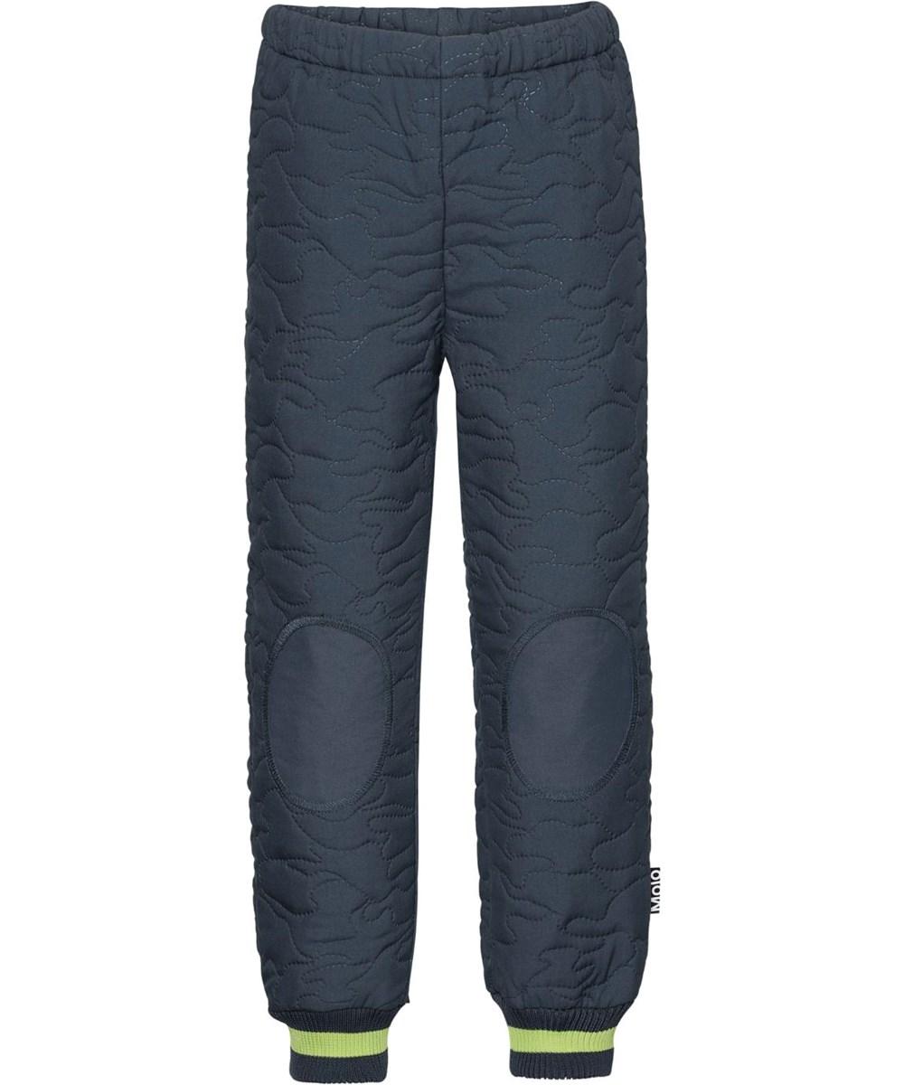 Hoti - Summer Night - Mørkeblå thermo bukser med grøn stribe