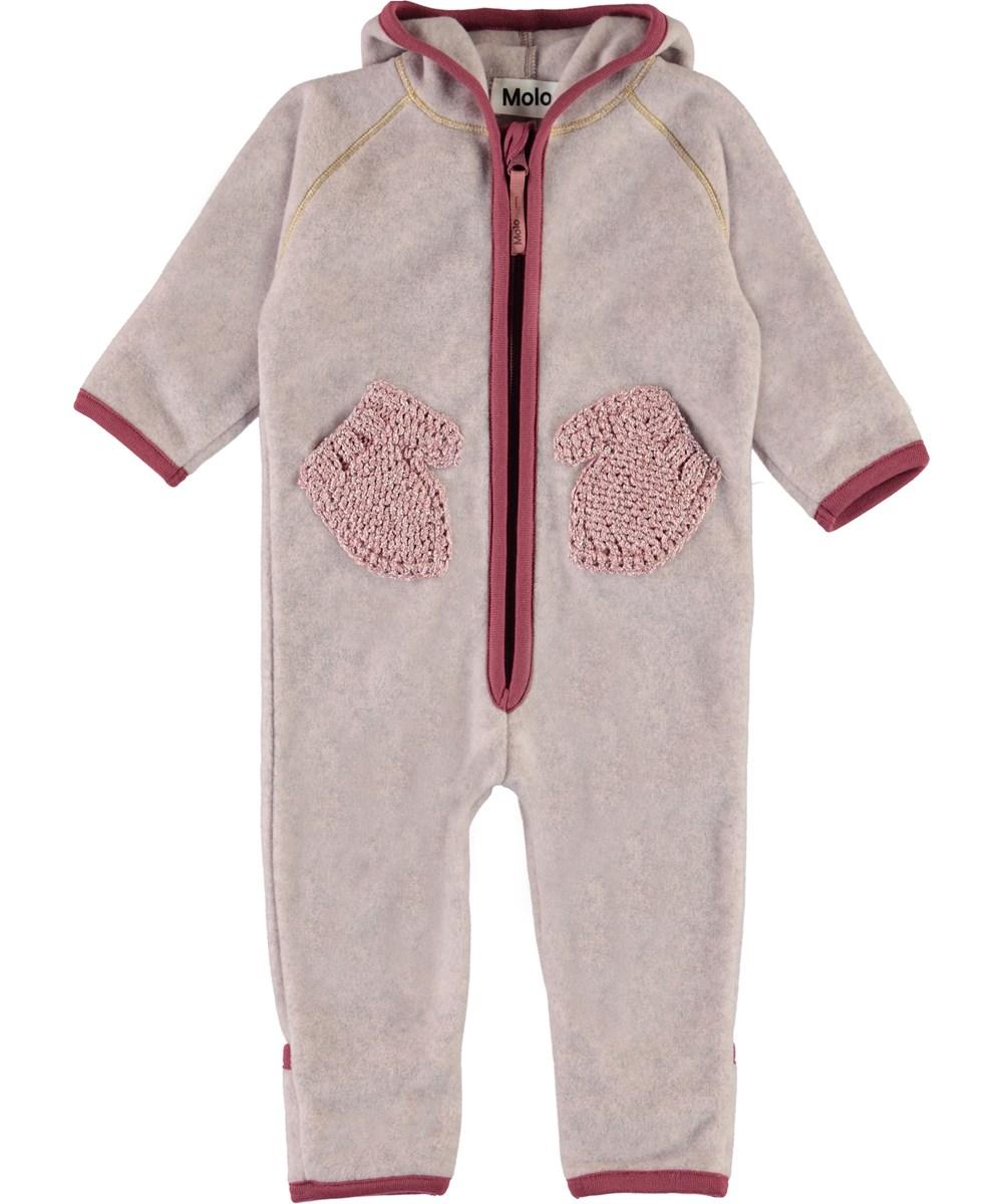 Udo - Fair Pink - Rosa baby fleecedragt med handsker