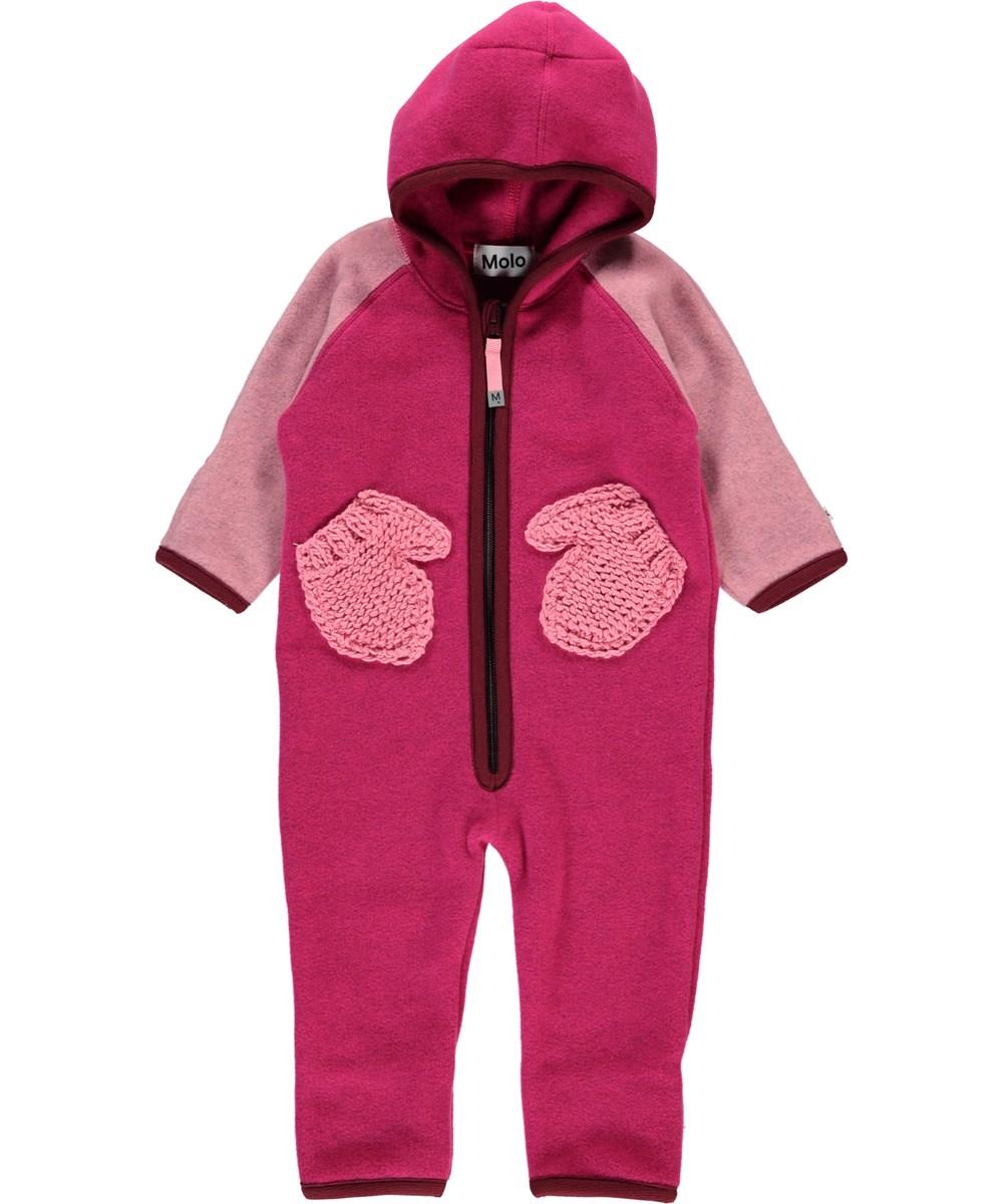 Udo - Pink Disco Block - Pink baby fleecedragt handskelommer.