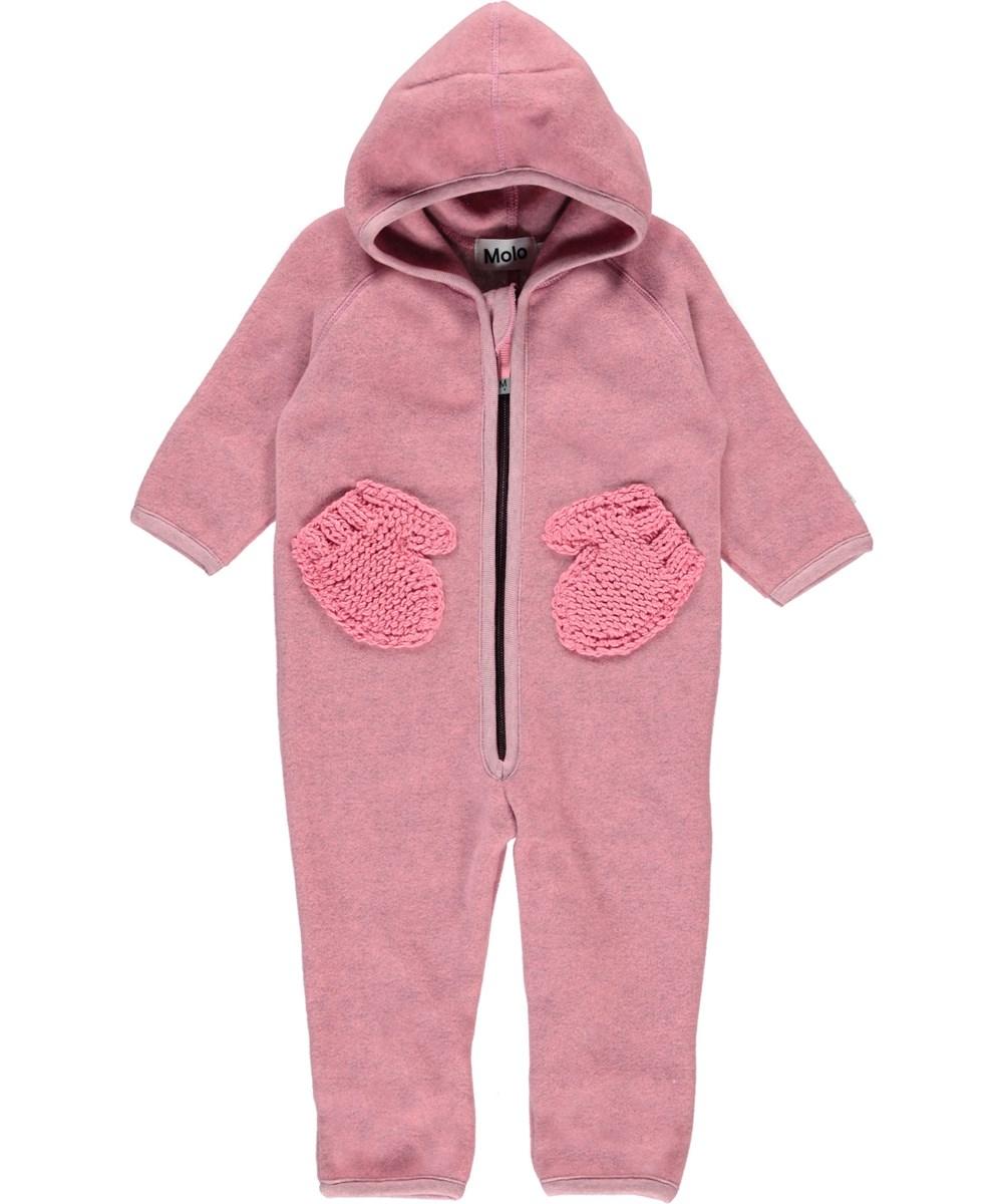 Udo - Bubble Pink - Lyserød baby fleecedragt med handskelommer.