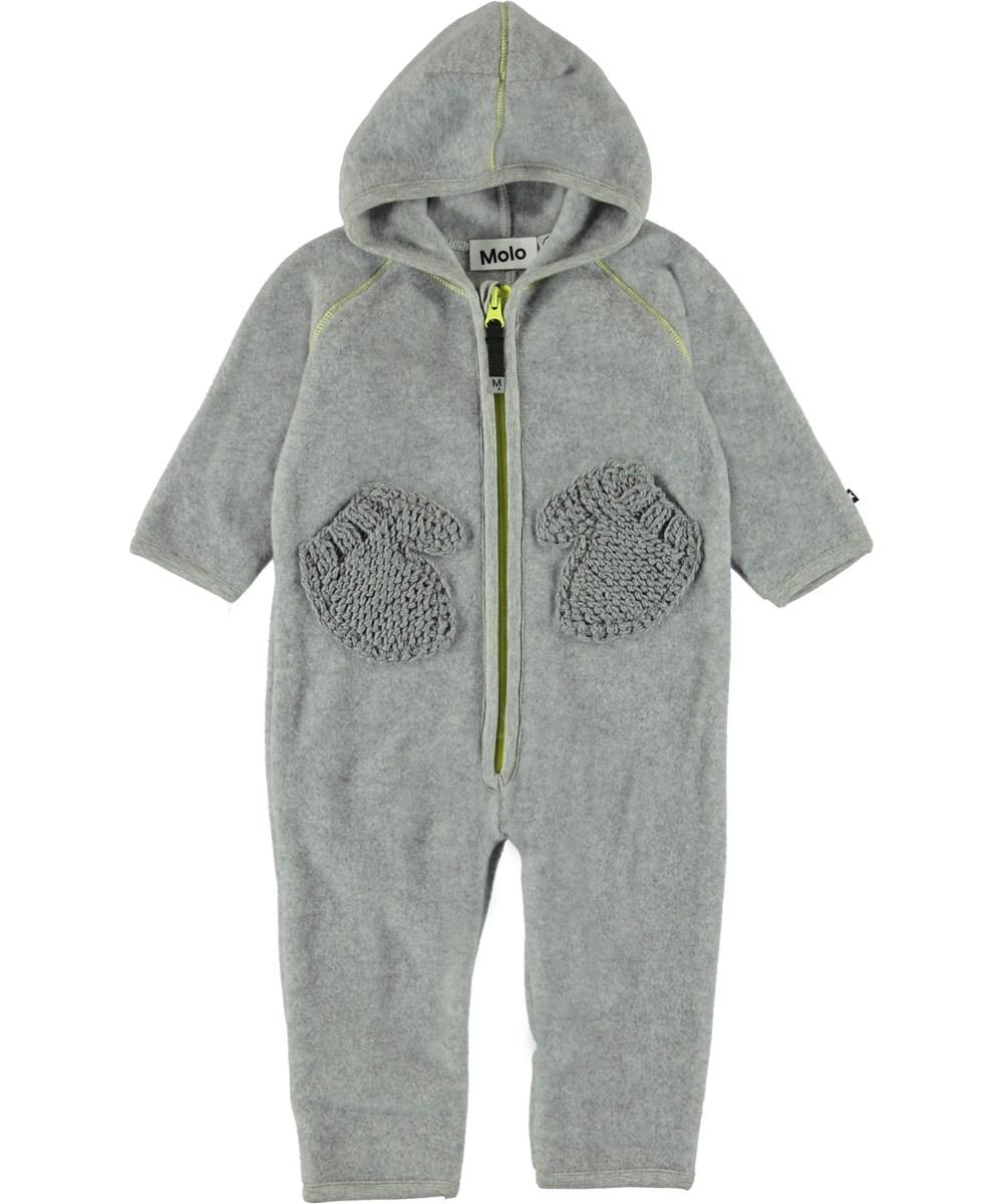 Udo - Grey Melange - Grå baby fleecedragt med handskelommer.