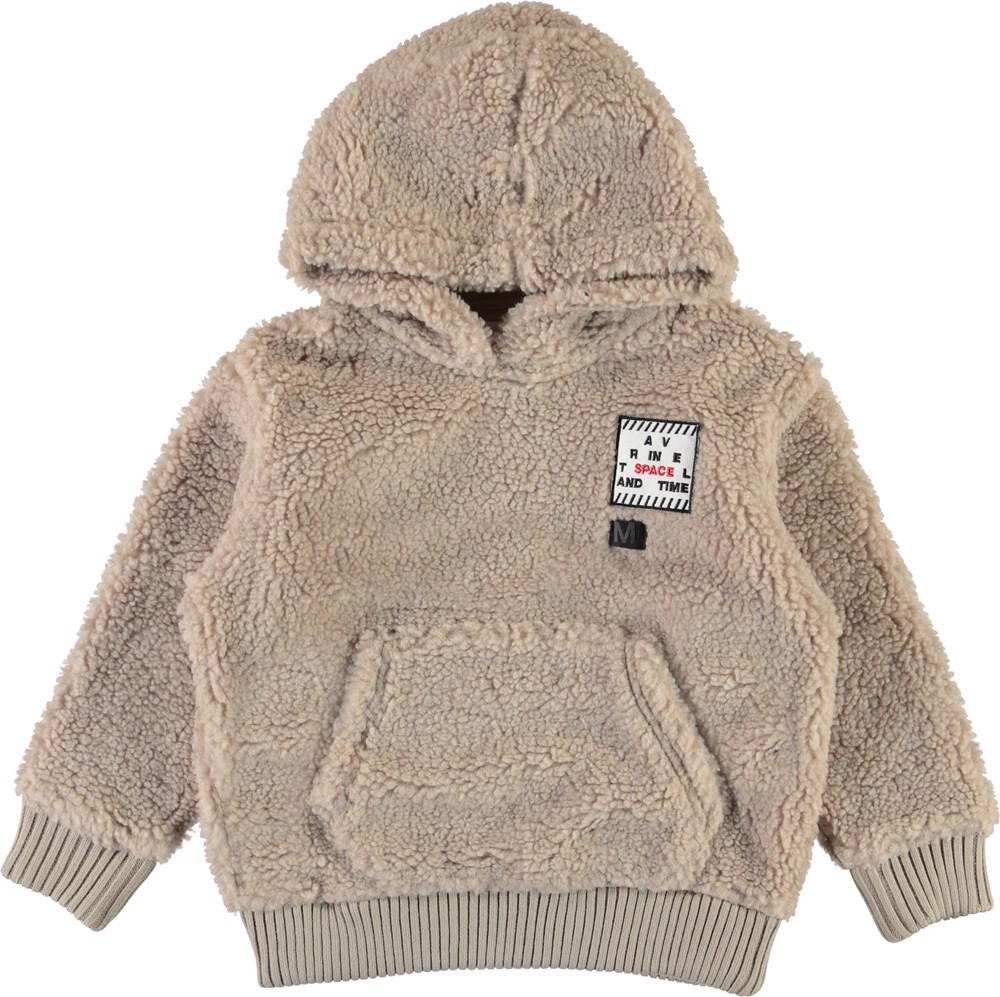Ugga - Gravel - Beige fleece hættetrøje