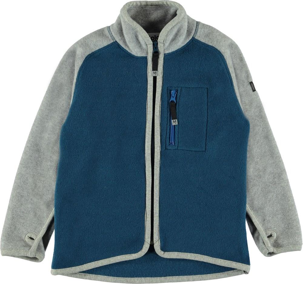 Ulrick - Ocean Blue Block - Blå fleecejakke med grå ærmer.