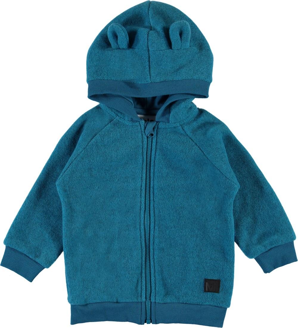 Ummi - Frozen Blue - Blå baby fleecejakke med hætte.