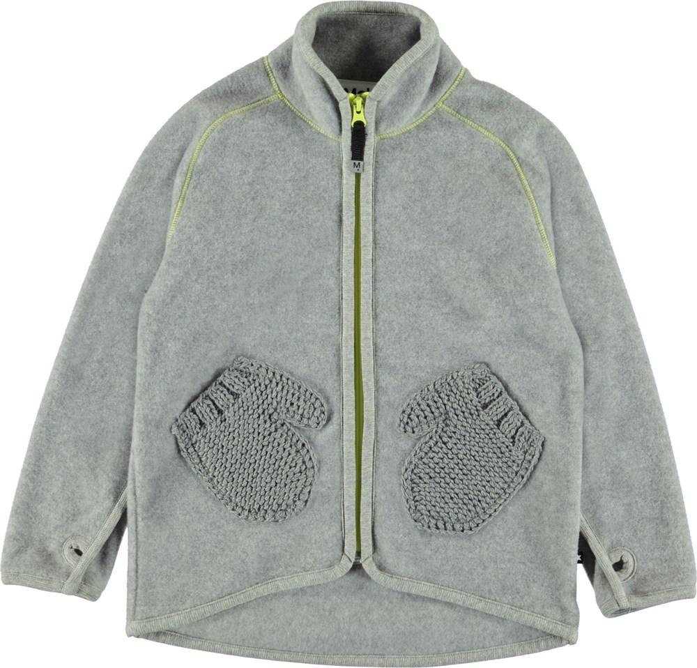 Ushi - Grey Melange - Grå fleecejakke med handskelommer.