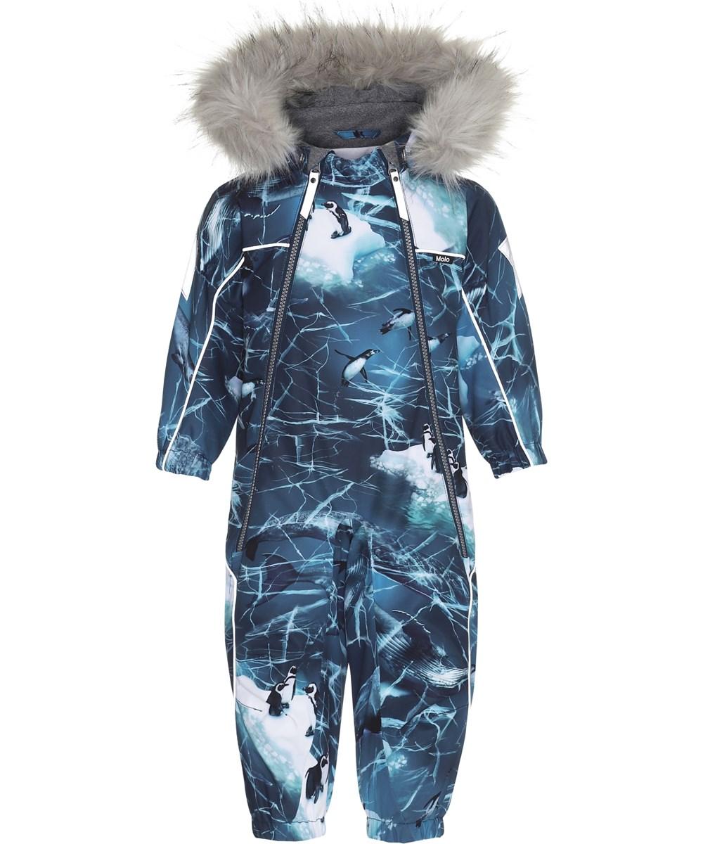 Pyxis Fur - Frozen Ocean - Flyverdragt med pingviner og faux fur pels.