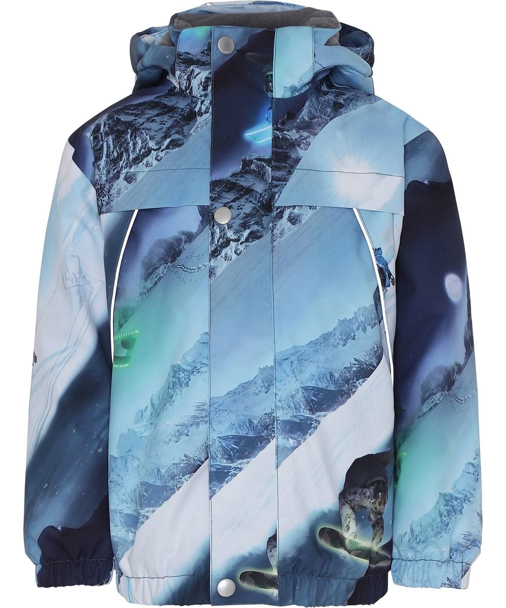 Castor - 24 Hrs - Blå vinterjakke med snowboarders.