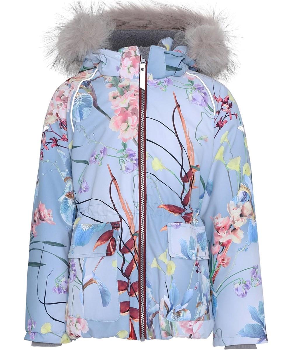 Cathy Fur - Ikebana - Vandtæt blomster print vinterjakke pels