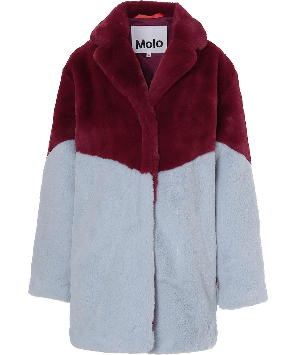 Haili - Sumak - Mørkerød og lyseblå faux fur frakke
