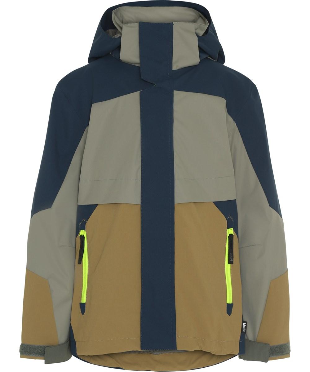 Hakon - Moonlit Ocean - Blå og grå vandtæt jakke med neon