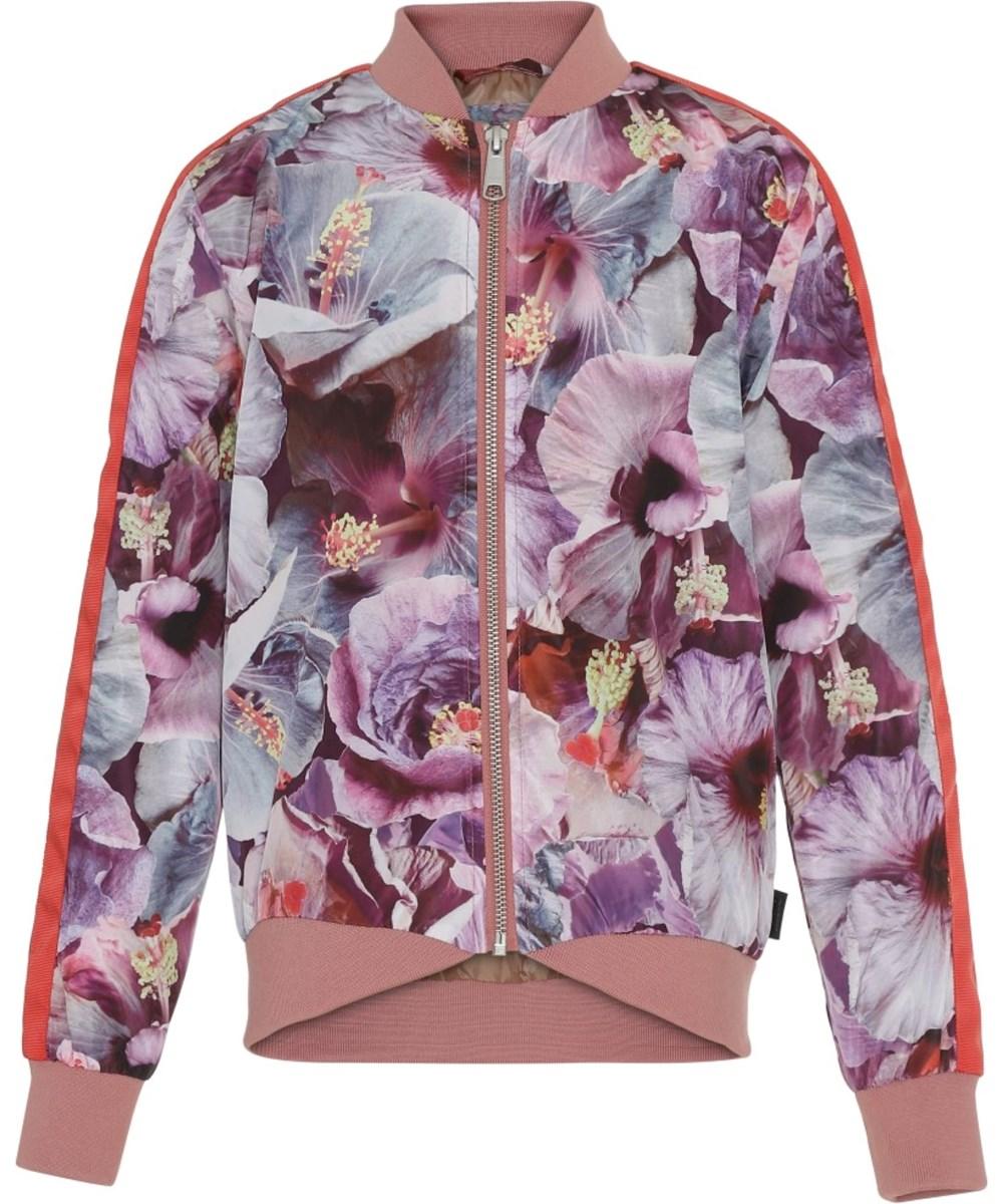 Hanna - True Hibiscus - Blomstret jakke med rød stribe