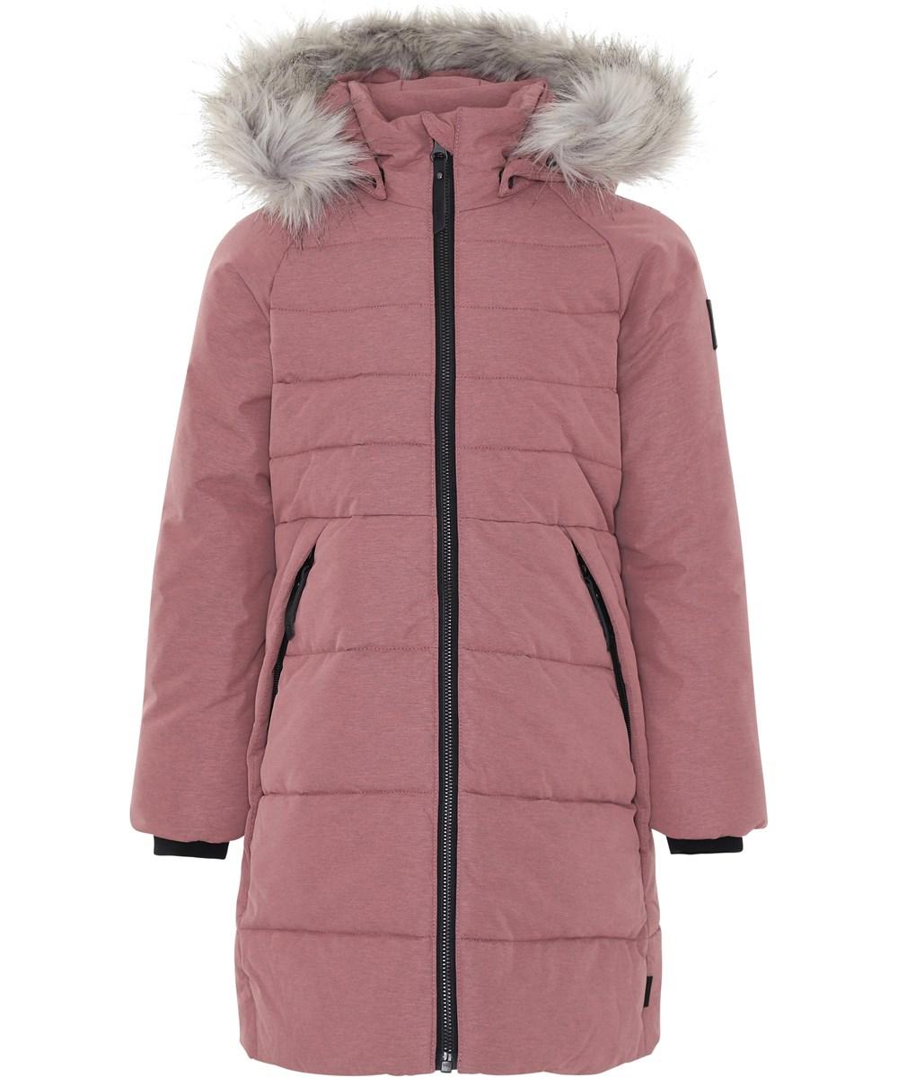 Hazeline - Bubble Pink - Rosa vinterfrakke med faux fur pels.