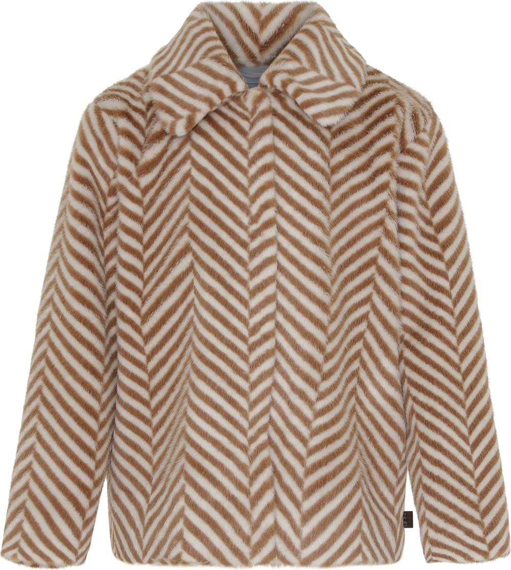 Hellen - Golden Herringbone - Gylden faux fur jakke