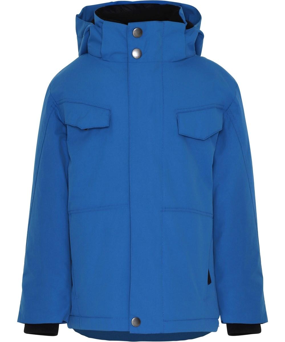 Henny - Blue - Blå vinterjakke med hætte.