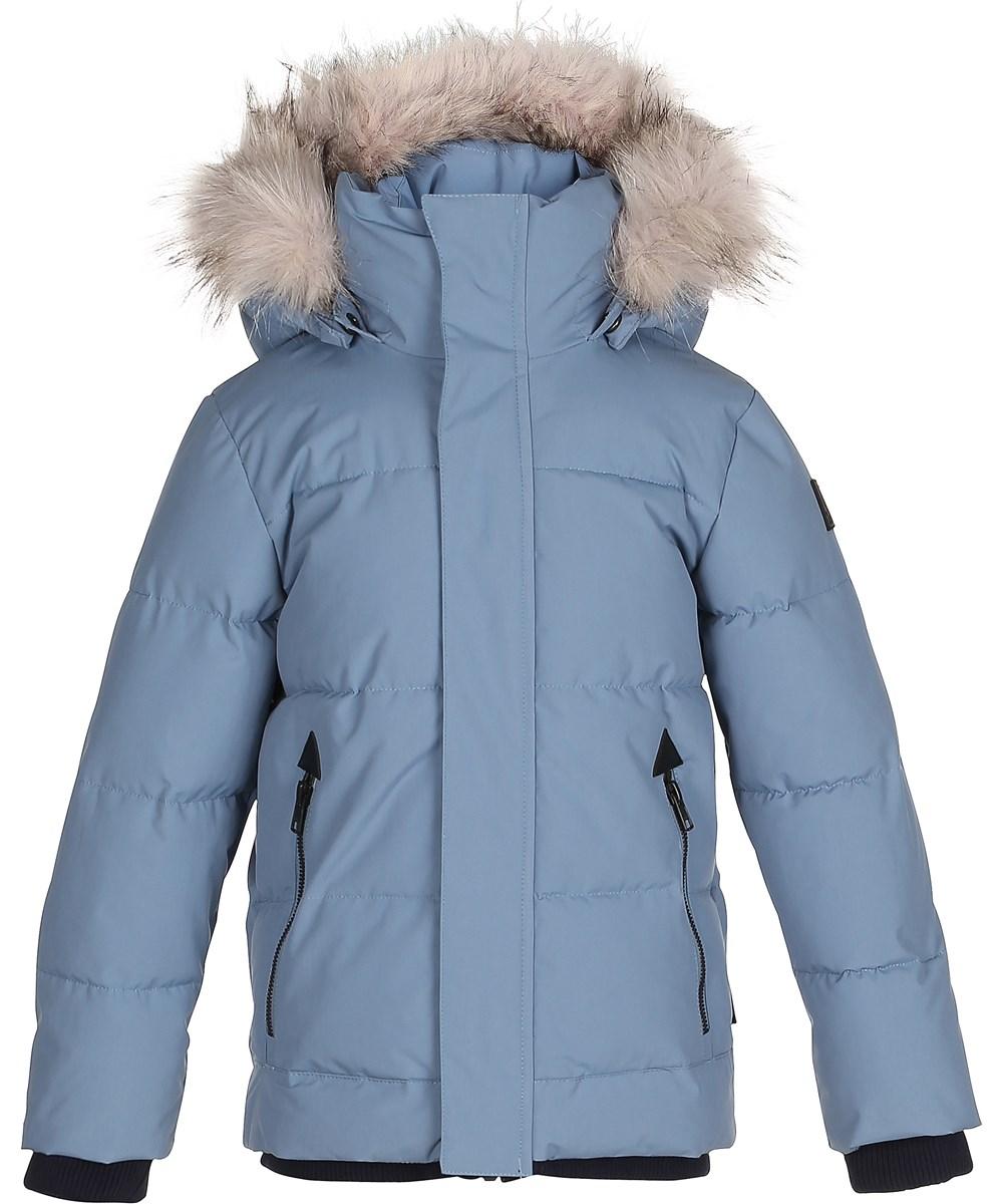 fcab3b73 Herbert - Bluestone - Blå lang vinterjakke med pelskant - Molo