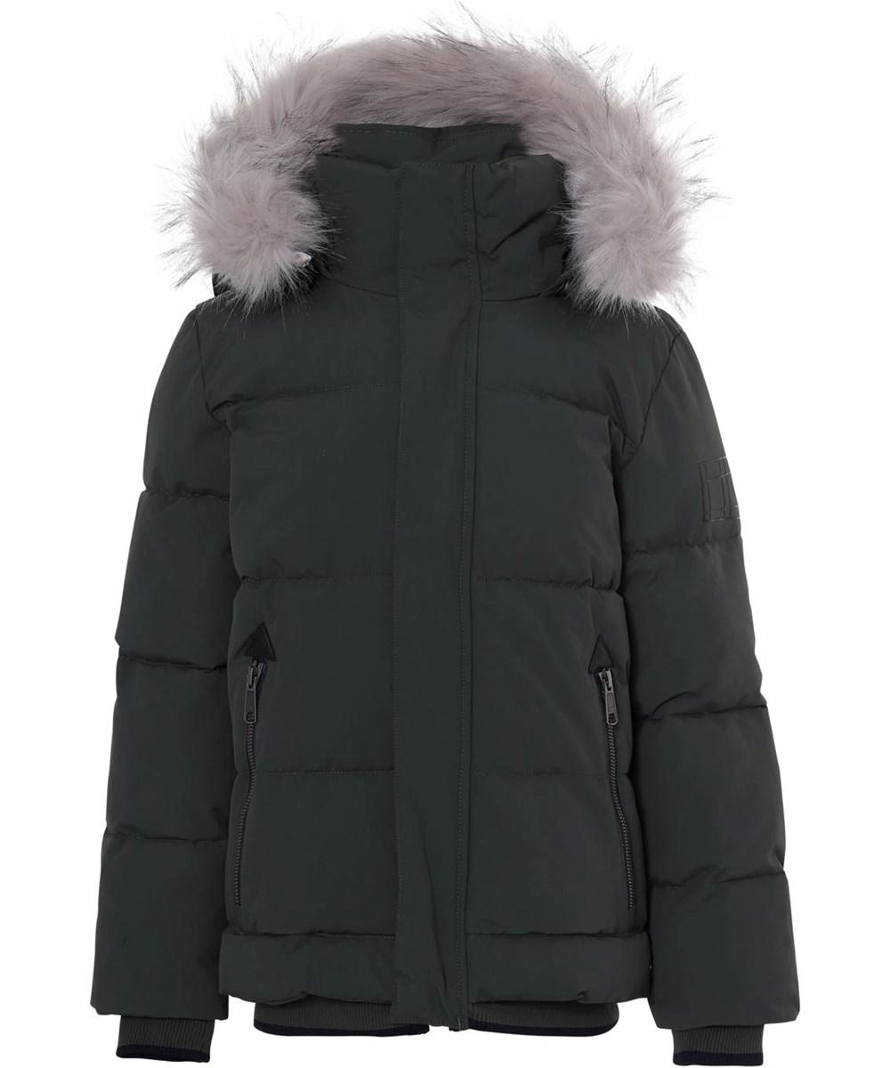 Herbert - Deep Forest - Mørkegrøn vinterjakke med pels