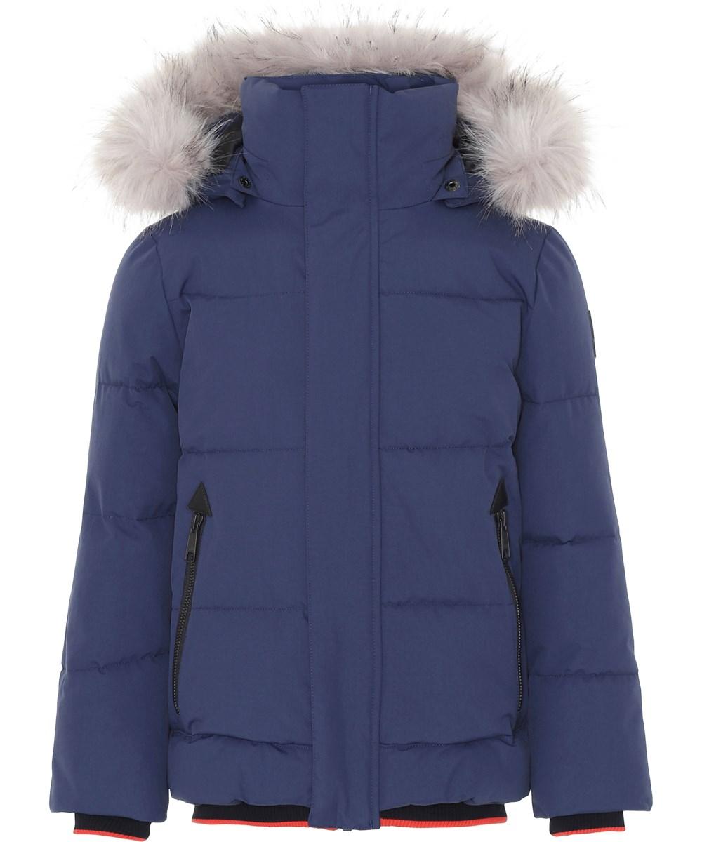 Herbert - Universe - Mørkeblå vinterjakke med faux fur pels.