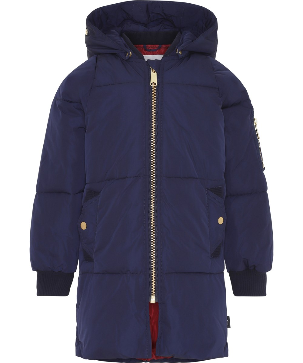 Hermione - Peacoat - Lang mørkeblå vinterjakke.