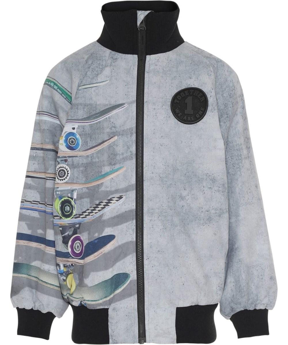 Hewson - Stacked By The Wall - Grå vandtæt softshell jakke med skateboards
