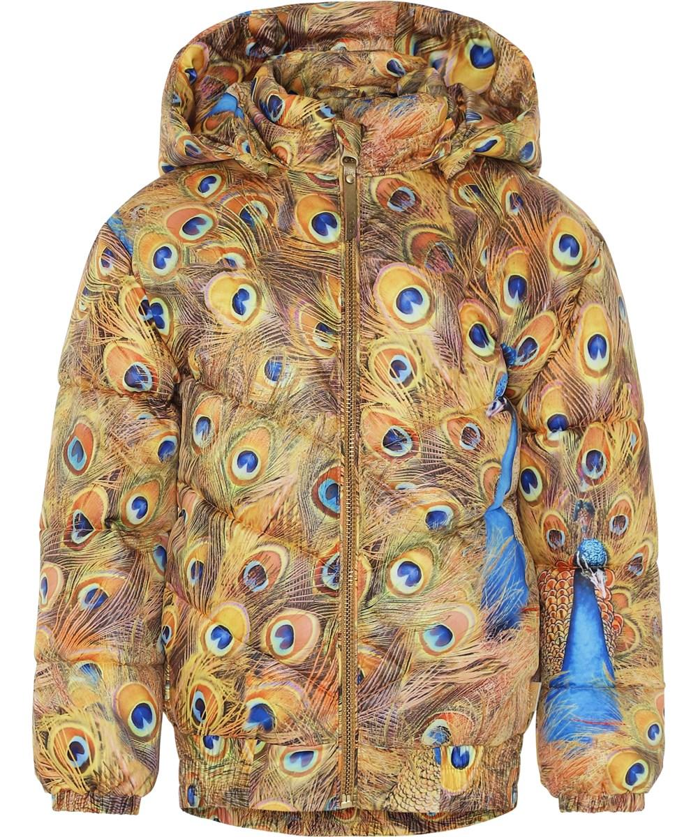 Heylee - Golden Peacock - Gylden vinterjakke med påfuglefjer.