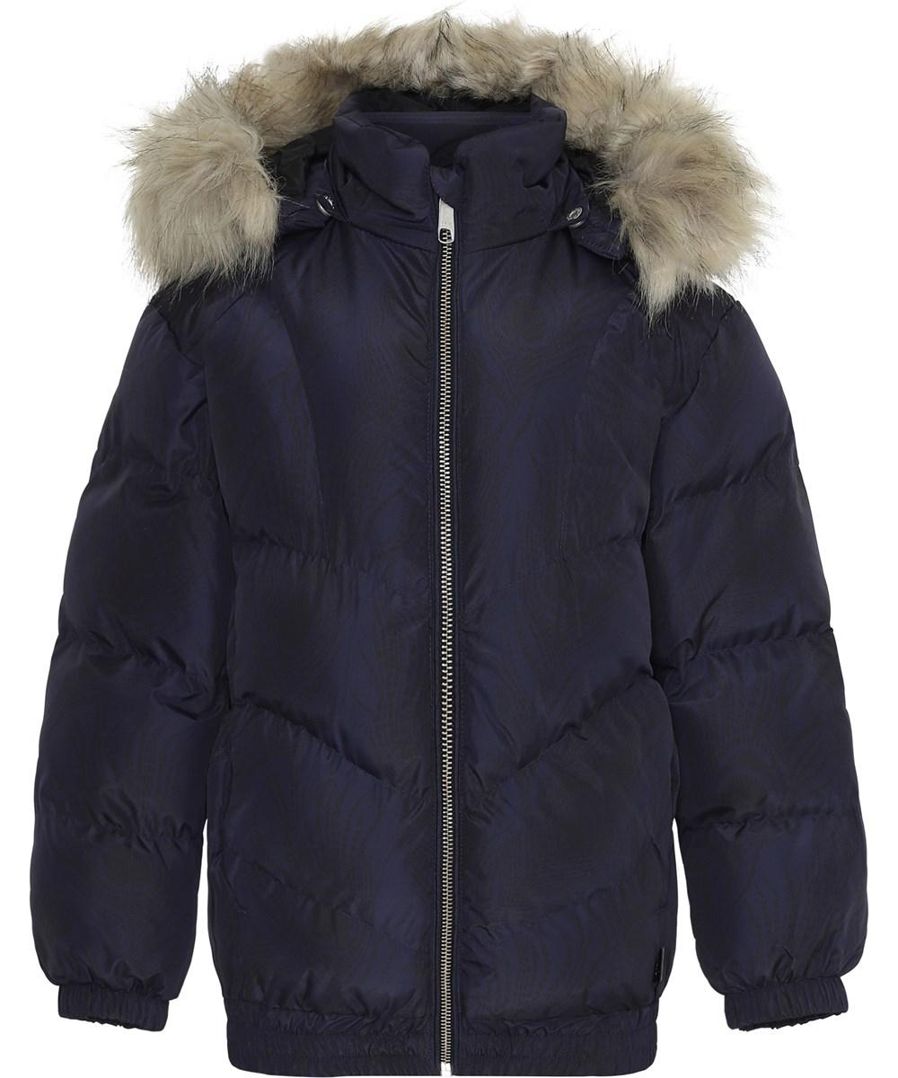 Heylee - Peacoat - Mørkeblå vinterjakke med faux fur pels.