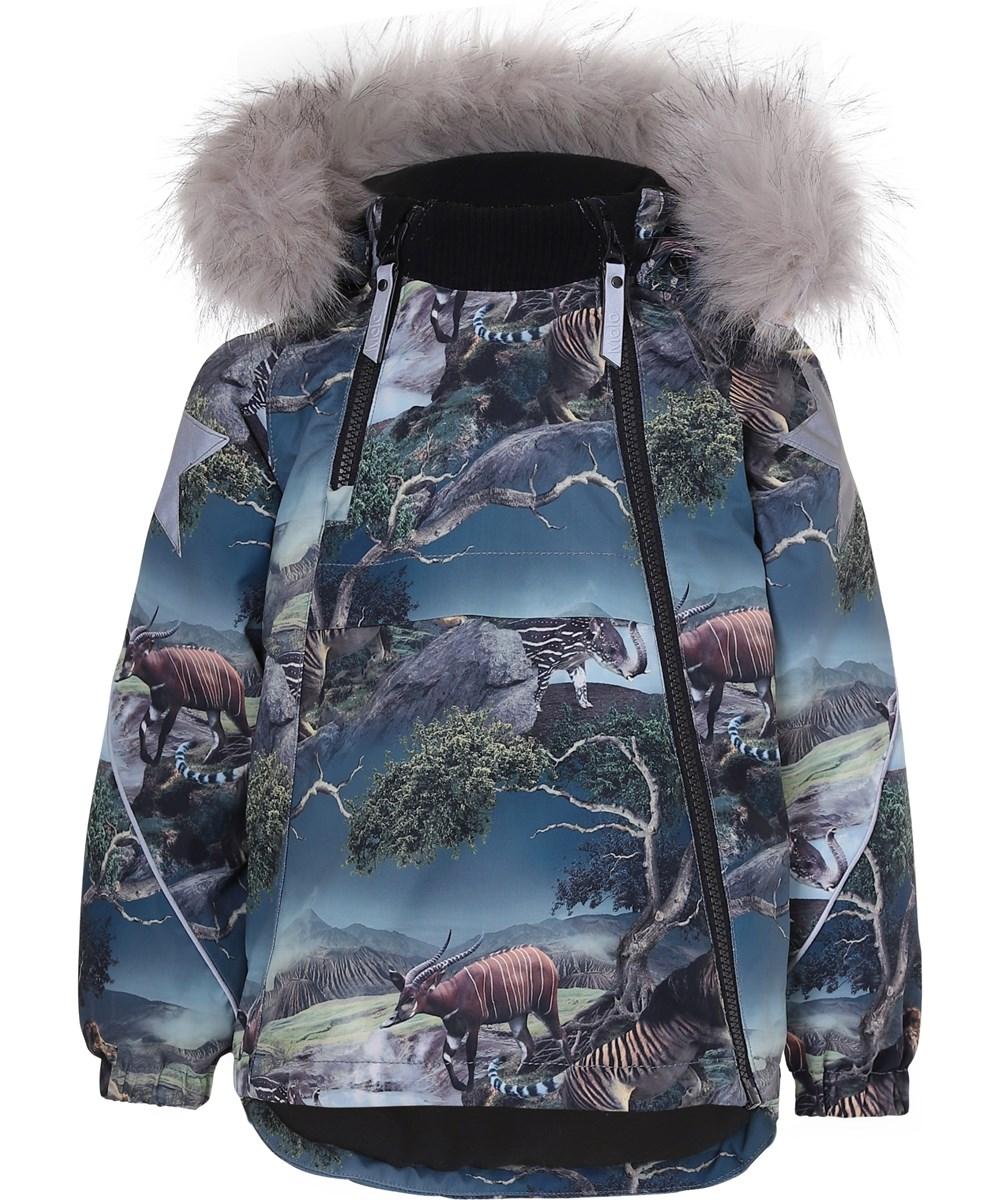 Hopla Fur - Creation - Vinterjakke med pels og dyre print