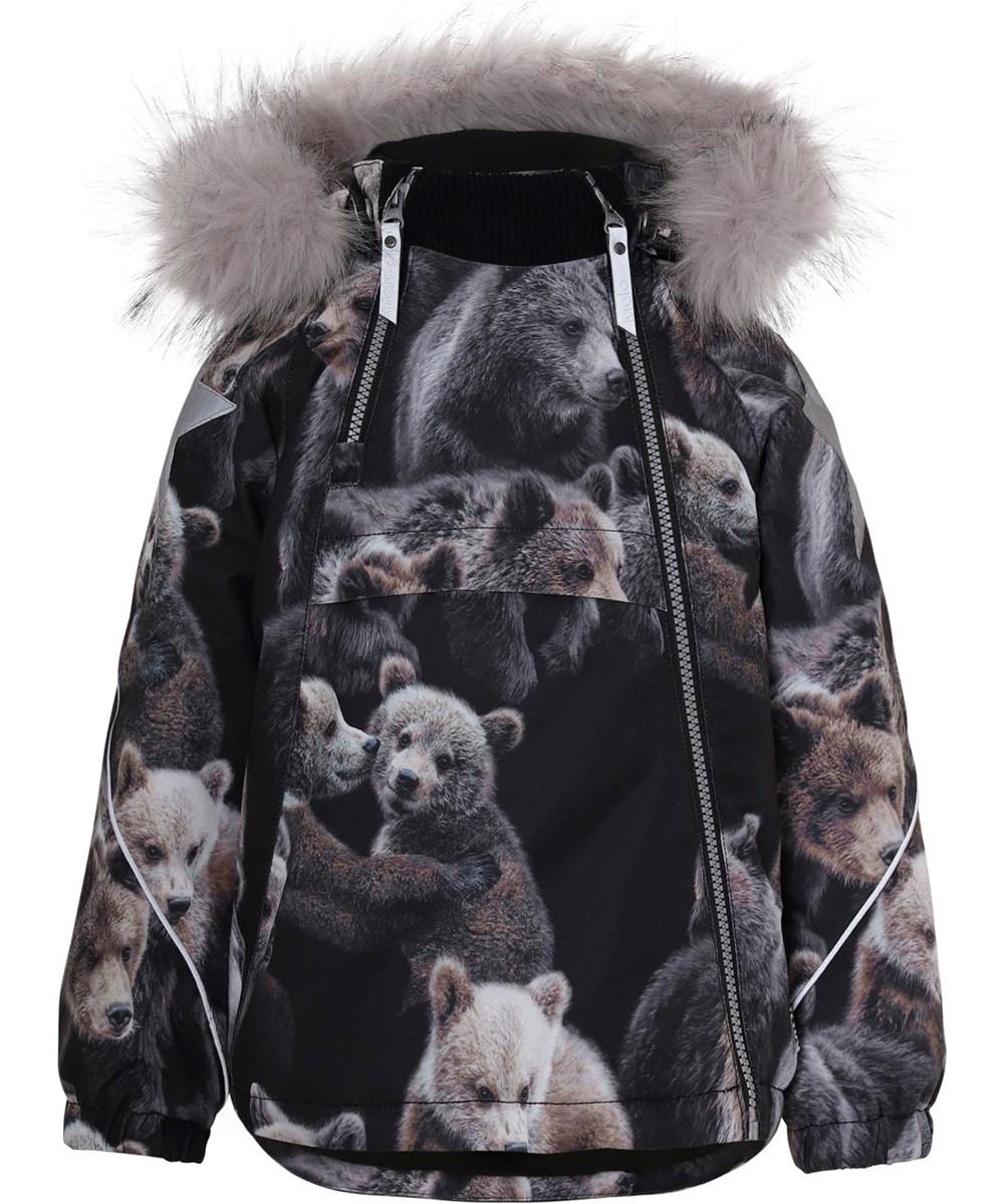 Hopla Fur - Teddy - Vinterjakke med pels og bjørne print