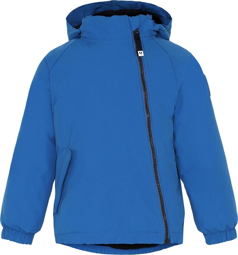 Hoshi - Blue - Blå vinterjakke med skrå lynlås.