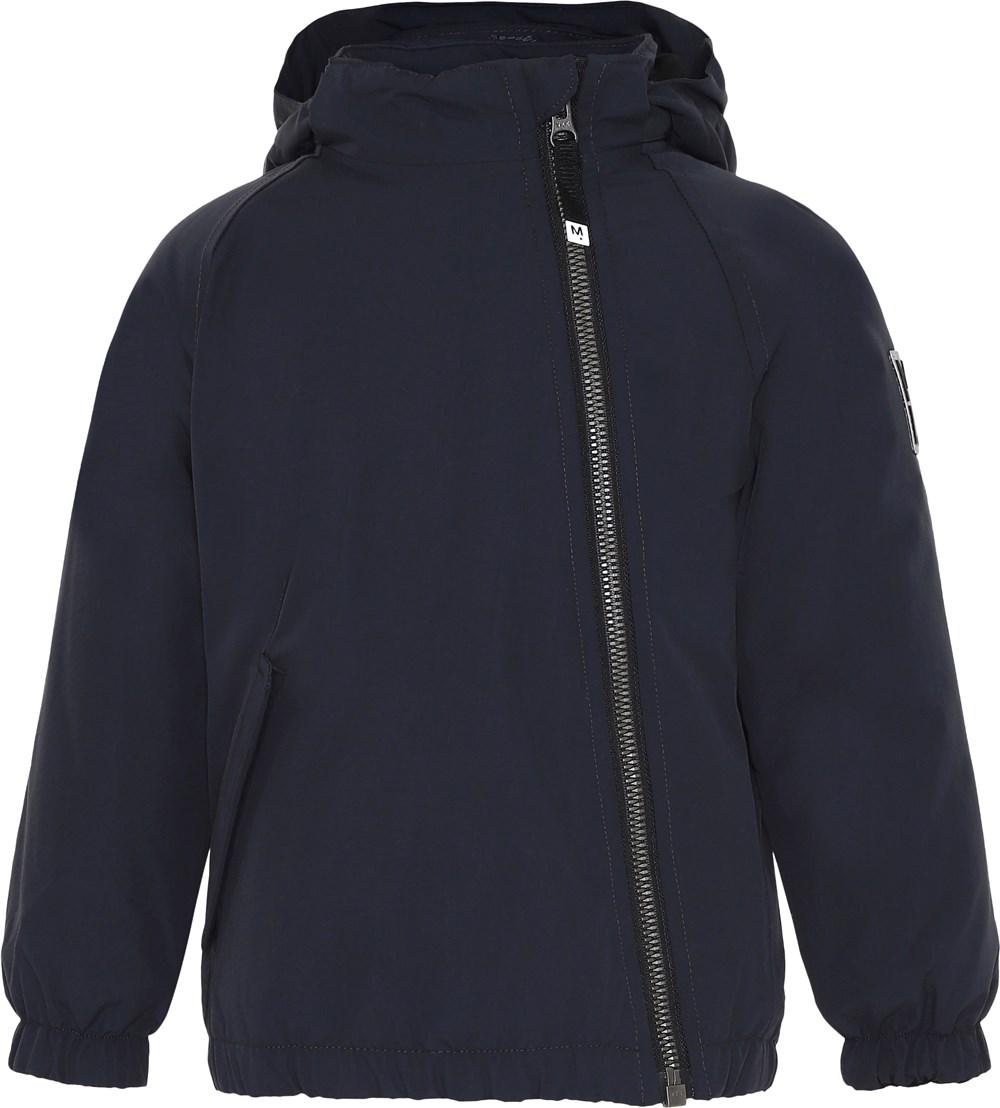Hoshi - Carbon - Mørkeblå vinterjakke med skrå lynlås.