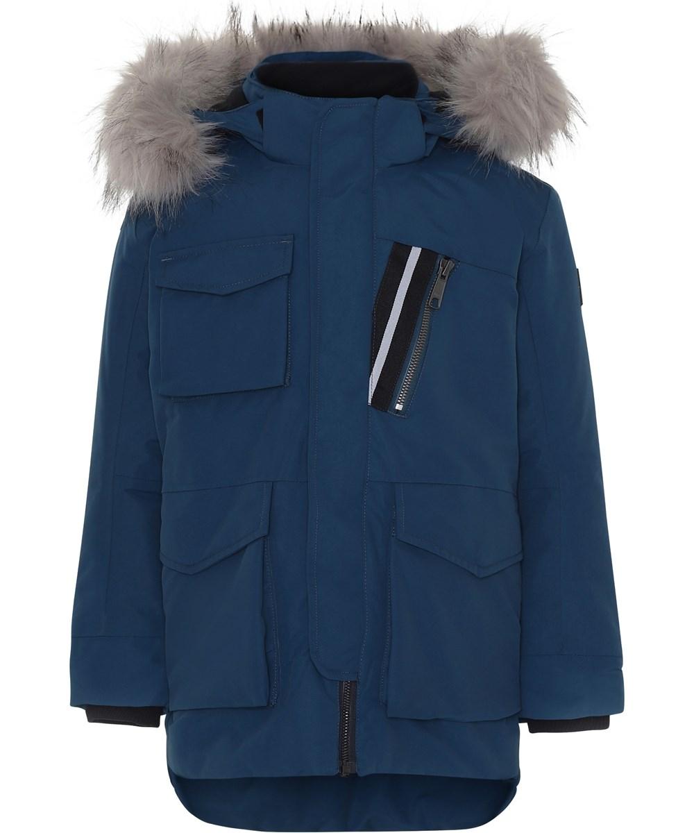 Parker - Ocean Blue - Blå vinterjakke med faux fur pels.