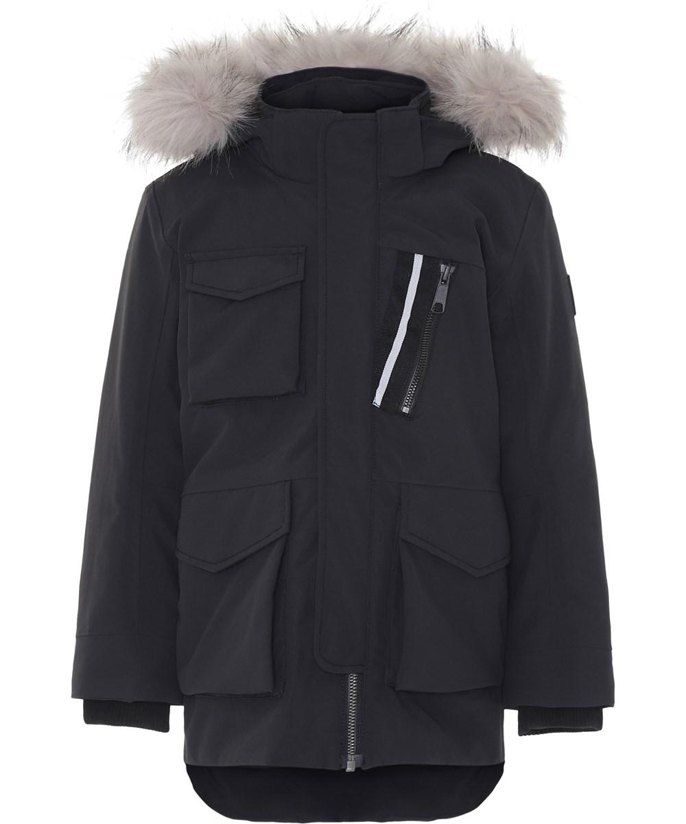 Parker - Very Black - Sort vinterjakke med faux fur pels.