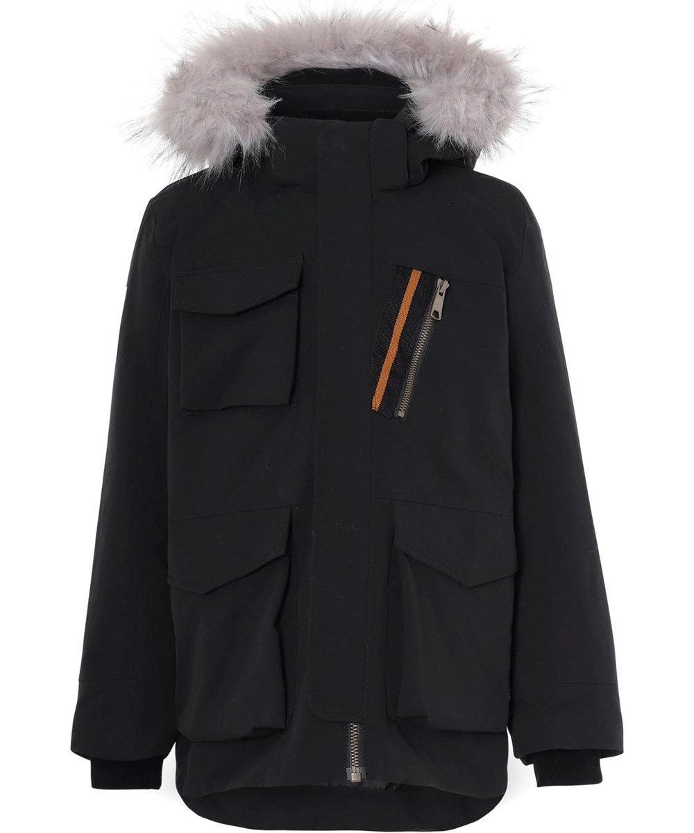 Parker - Black - Vandtæt vinterjakke i sort med pels